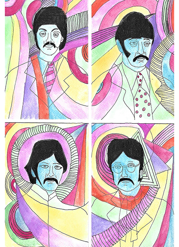Beatles Art by Robert Rubbish ~ 30.5cm x 38 cm ~ Unframed